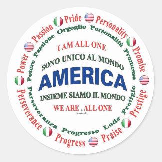 america united - italian round sticker