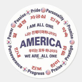 america united - korean round sticker