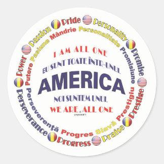 america united - romanian round sticker