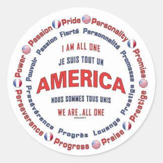 america united round sticker