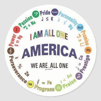 america united - universal languages round sticker