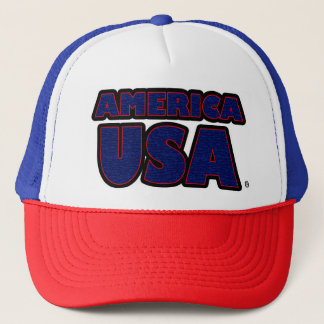America USA Blue Red Worded Trucker Hat