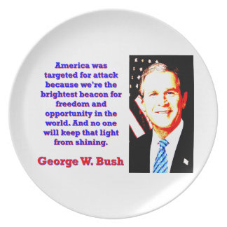 America Was Targeted For Attack - G W Bush Plate