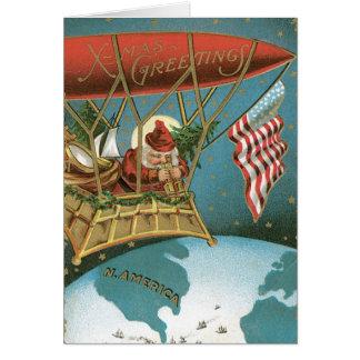 Américain démodé Père Noël de salutations de Noël Cartes De Vœux