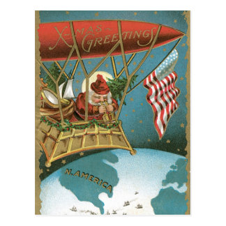 Américain démodé Père Noël de salutations de Noël Carte Postale