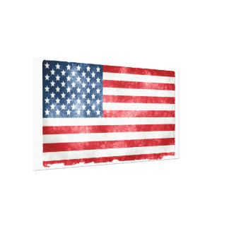 American 50 Star Flag on Newsprint Posters Canvas Print