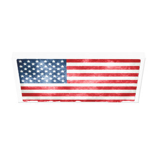 American 50 Star Flag on Newsprint Wrapped Canvas