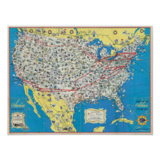 American Airlines system map Poster