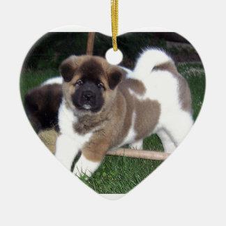American Akita Puppy Dog Ceramic Ornament