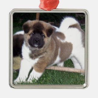 American Akita Puppy Dog Metal Ornament