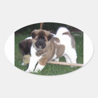 American Akita Puppy Dog Oval Sticker