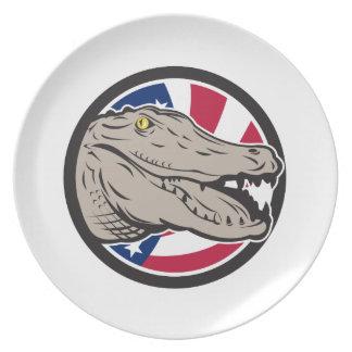 American Alligator USA Flag Icon Plate