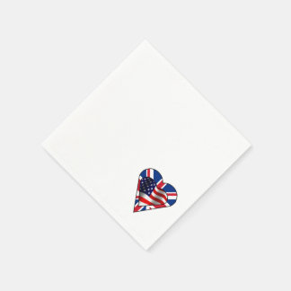 American and British Flag Hearts Disposable Napkins