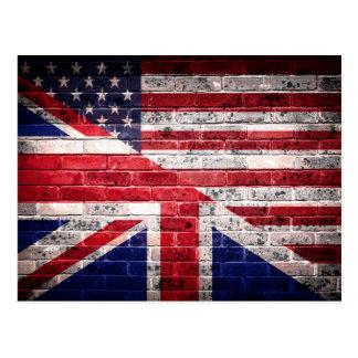 American and British flag. Postcard
