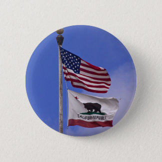 AMERICAN AND CALIFORNIA STATE flags 2 Inch Round Button