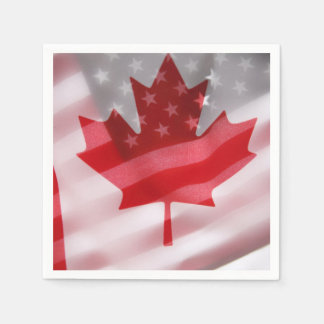 American and Canadian flags Disposable Napkin