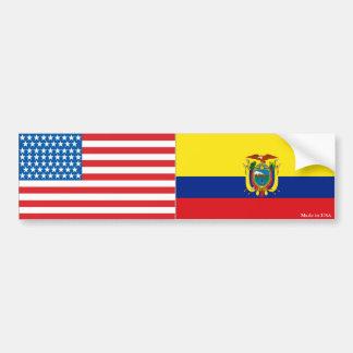 American and Ecuadorian Flag Bumper Sticker