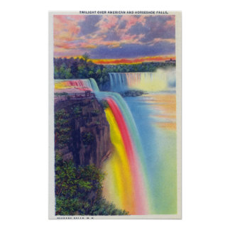 American and Horseshoe Falls at Dusk Posters