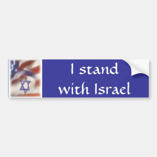 American and Israeli Flag I stand with Israel Bumper Sticker