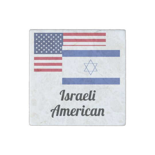 American And Israeli Flag Stone Magnets