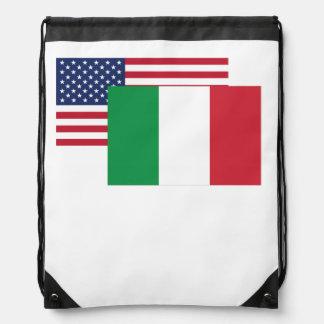 American And Italian Flag Drawstring Bag