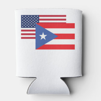 American And Puerto Rican Flag Can Cooler