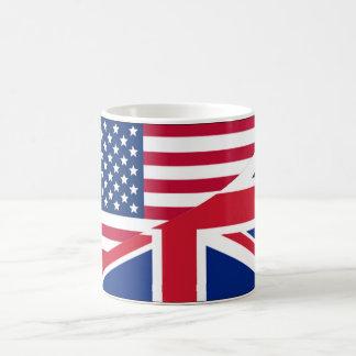 American and Union Jack Flag Coffee Mug