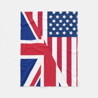 American and Union Jack Flag Fleece Blanket