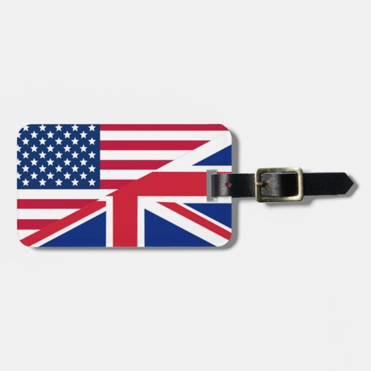 American and Union Jack Flag Luggage Tag