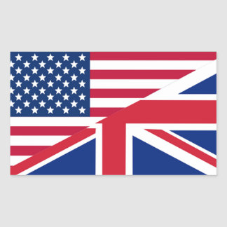 American and Union Jack Flag Rectangle Sticker