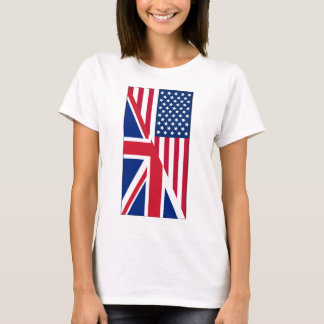 American and Union Jack Flag Women's Basic T-Shirt