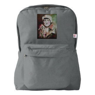 American apparel backpack with portrait of a lady