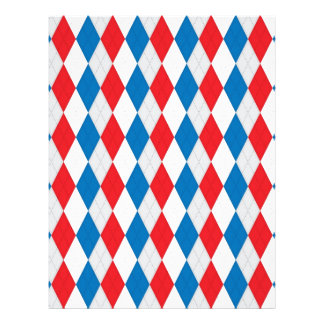 American Argyle Red White Blue Personalized Letterhead