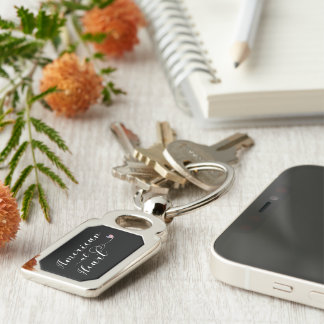 American At Heart Keyring, USA Silver-Colored Rectangle Keychain