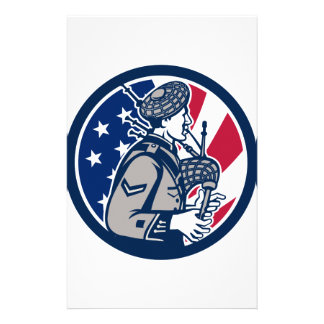 American Bagpiper USA Flag Icon Stationery