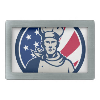 American Baker Chef USA Flag Icon Belt Buckle