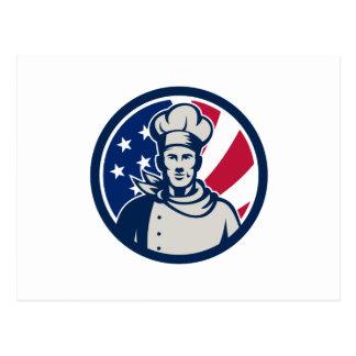 American Baker Chef USA Flag Icon Postcard
