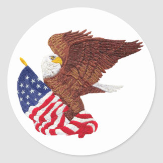 American Bald Eagle and American Flag Classic Round Sticker