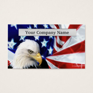 American Bald Eagle and Flag Business cards