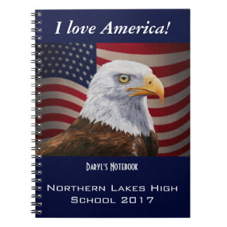 American Bald Eagle and Flag Spiral Notebook