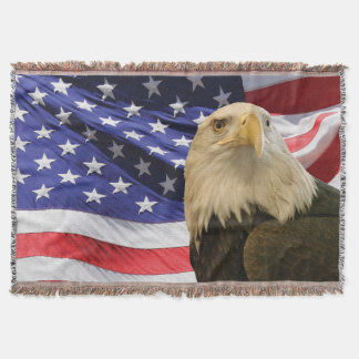 American Bald Eagle and Flag Throw Blanket