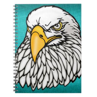 American bald eagle aqua blue notebook