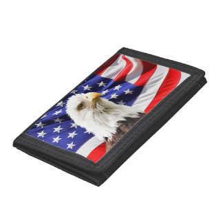 American Bald Eagle Flag Tri-fold Wallet