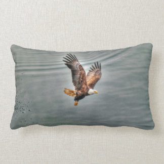 American Bald Eagle Flying Over Ocean Lumbar Pillow