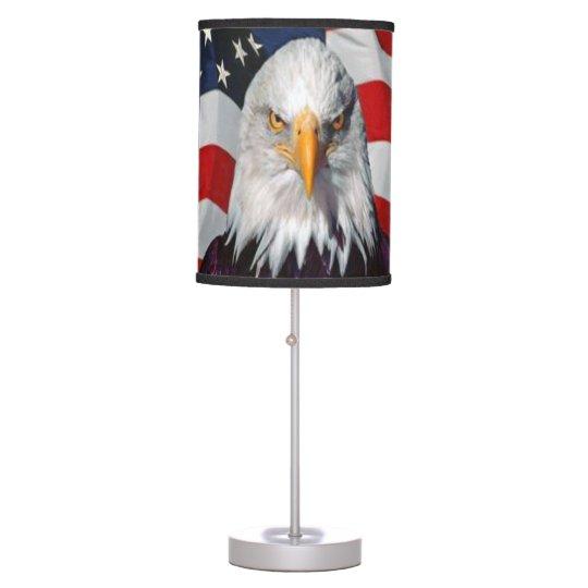 American Bald Eagle on USA Flag Table Lamp