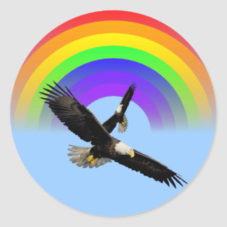 American Bald Eagle Rainbow Sticker