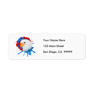 American Bald Eagle Red White & Blue Paint Spatter Return Address Label