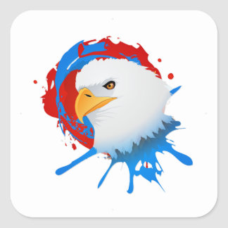 American Bald Eagle Red White & Blue Paint Spatter Square Sticker