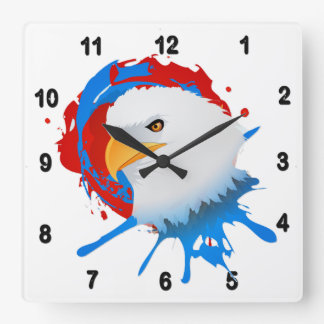 American Bald Eagle Red White & Blue Paint Spatter Square Wall Clock