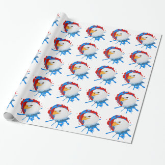 American Bald Eagle Red White & Blue Paint Spatter Wrapping Paper